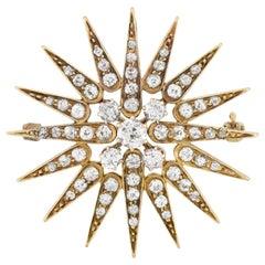 Art Nouveau 1.25 Total Carat Diamond Starburst Pin or Pendant