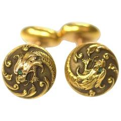 Art Nouveau 14 Carat Gold Cufflinks of Dragon Heads