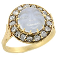 "Art Nouveau 14 Karat Carved Moonstone and Diamond ""Man in the Moon"" Ring"