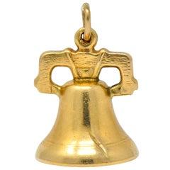 Art Nouveau 14 Karat Gold 3D Liberty Bell Articulated Clapper Charm