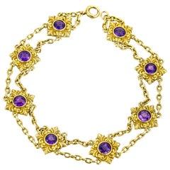 Art Nouveau 14 Karat Gold Amethyst 8-Station Chain Bracelet