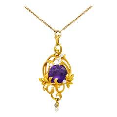 Art Nouveau 14 Karat Gold Amethyst Diamond Pearl Foliate Drop Pendant Necklace