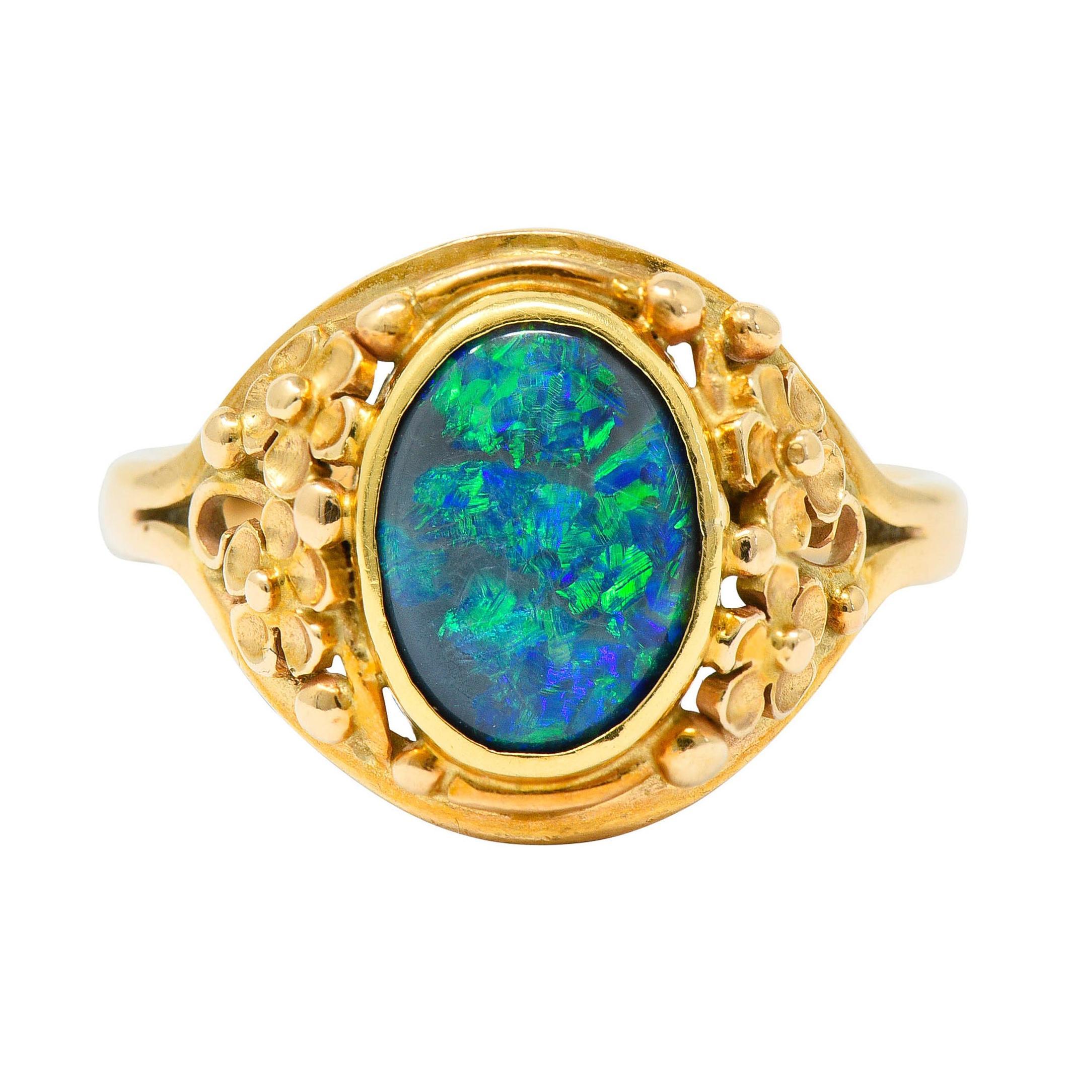 Art Nouveau 14 Karat Gold Black Opal Flower Ring