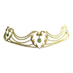 Art Nouveau 14 Karat Gold Choker Peridot Necklace