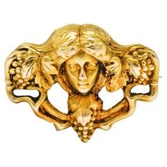 Art Nouveau 14 Karat Gold Dionysus Maenad Nymph Brooch