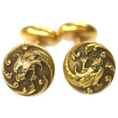 Art Nouveau 14 Karat Gold Dragon Cufflinks
