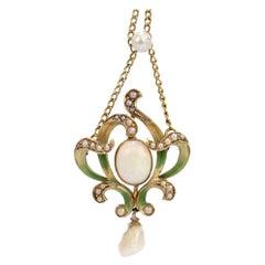 Art Nouveau 14 Karat Gold, Enamel, Opal and Pearl Lavalier Pendant Necklace