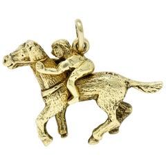 Art Nouveau 14 Karat Gold Racehorse and Jockey Charm