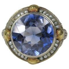 14 Karat Gold Ring Blue Seed Pearl Art Nouveau