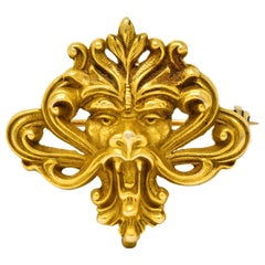Art Nouveau 14 Karat Gold Whiplash Lion Brooch, circa 1905
