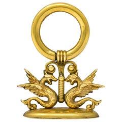 Art Nouveau 14 Karat Gold Winged Serpent Fob Pendant Charm