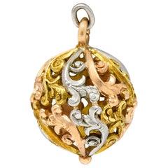 Art Nouveau 14 Karat Tri-Colored Gold Filigree Ball Charm