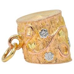 Art Nouveau 14 Karat Tri-Gold Floral Foliate Log Charm