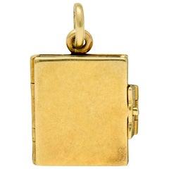 Art Nouveau 14 Karat Yellow Gold Articulated Book Charm