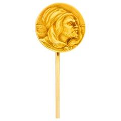Art Nouveau 14 Karat Yellow Gold Hooded Prophet Stickpin