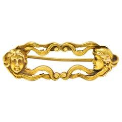 Art Nouveau 14 Karat Yellow Gold Lovely Lady Brooch