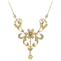 Art Nouveau, 14 Karat Yellow Gold, Peridot and Pearl Lavalier Necklace