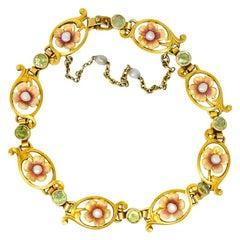 Art Nouveau 1.44 Carat Peridot Enamel Pearl 14 Karat Gold Link Bracelet