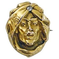 Art Nouveau 14K Diamond Brooch, C.1900