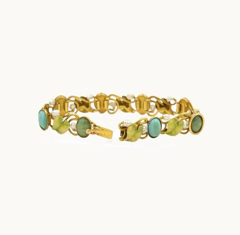 Art Nouveau 14 Karat Gold Enamel Bracelet with Turquoise, Serpentine and Pearls In Excellent Condition For Sale In Los Angeles, CA