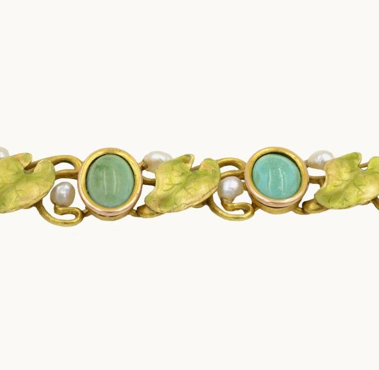 Women's Art Nouveau 14 Karat Gold Enamel Bracelet with Turquoise, Serpentine and Pearls For Sale