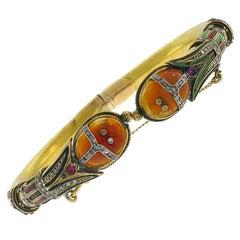 Art Nouveau 14k Gold Scarab Bangle Bracelet Estate Jewelry Antique