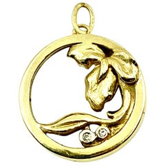 Art Nouveau 14K Yellow Gold and Diamond Circle Iris Flower Pendant, Charm