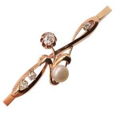 Art Nouveau 14kt Old European Cut and Pearl Toi et Moi Bracelet