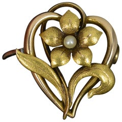Art Nouveau 15 Carat Gold and Pearl Forget Me Not Flower Brooch