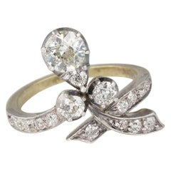 Art Nouveau 1.50 Carat Diamond Old Cut Sensual Ring
