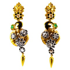 Art Nouveau 1.50 Carat White Rose Cut Diamond Emerald Yellow Gold Drop Earrings