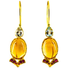 Art Nouveau 15.37 Carat Ruby Aquamarine Citrine Yellow Gold Lever-Back Earrings