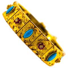 Art Nouveau 1.65 Carat White Diamond Ruby Turquoise Yellow Gold Retro Bracelet