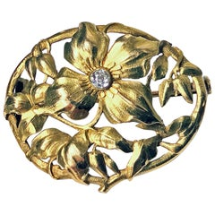 Art Nouveau 18 Karat Diamond Brooch, circa 1900