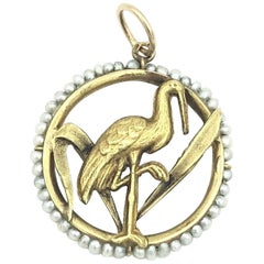 Art Nouveau 18 Karat Flamingo with Natural Seed Pearl Halo Charm