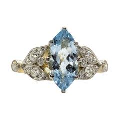 Art Nouveau Style 18 Karat Gold and Platinum Aquamarine and Diamond Ring