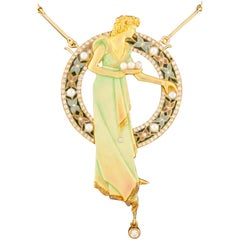 Art Nouveau 18 Karat Gold Plique-à-Jour Enamel, Pearl and Diamond Brooch Pendant