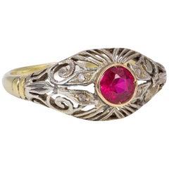 Art Nouveau 18 Karat Gold, Silver, Diamond and Ruby Ring