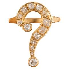 Art Nouveau 18 Karat Yellow Gold 1.50 Carat Old Mine Cut Question Mark Ring