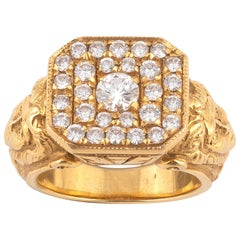 Art Nouveau 18 Karat Yellow Gold and Diamond Ring