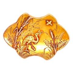Art Nouveau 18 Karat Yellow Gold Brooch Pin
