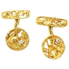 Art Nouveau 18 Karat Yellow Gold Frog on Lily Pad Old Mine Cut Diamond Cufflinks