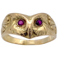 Art Nouveau 18 Karat Yellow Gold Ruby Owl Ring Wisdom Athena