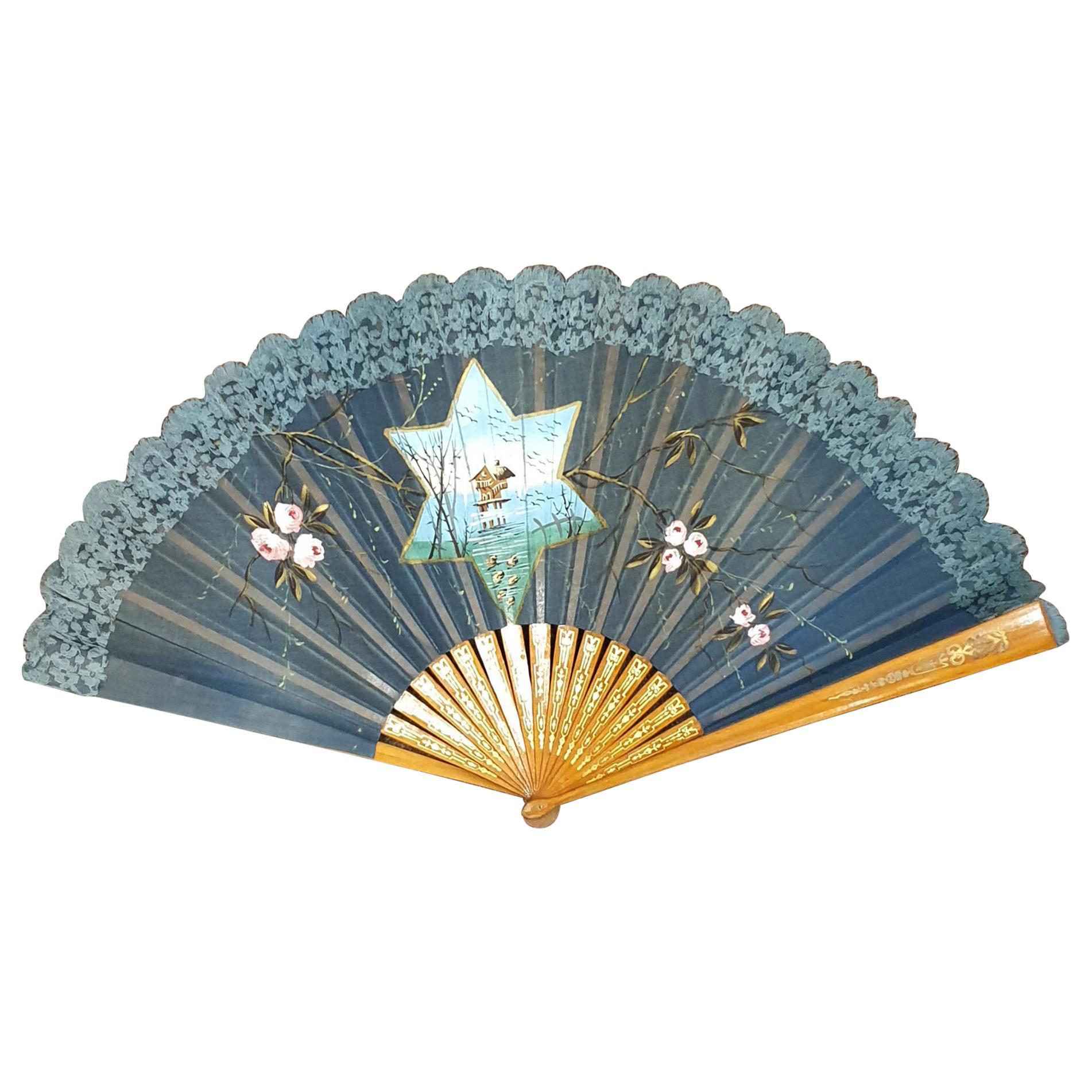 Art Nouveau 1890 Flamenco Pericon Large Fan
