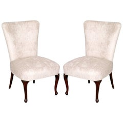 Art Nouveau 1890s Pair of Lounge Chairs, Hand-Carved Walnut Legs