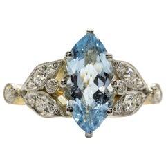 Art Nouveau 18 Karat Gold and Platinum Aquamarine and Diamonds Ring