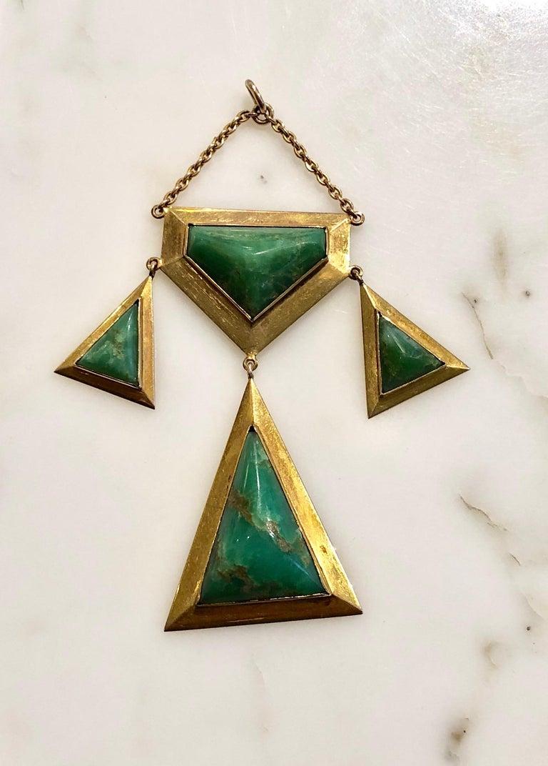 Georgian Art Nouveau 18 Karat Jade Pendant, circa 1940s For Sale