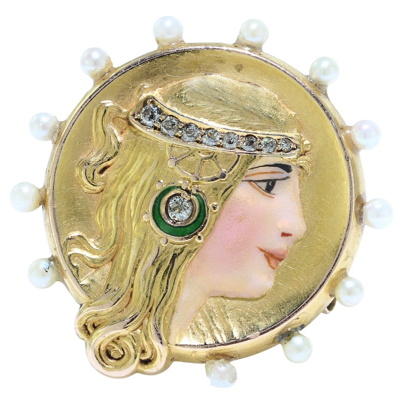 Art Nouveau 18kt Gold Brooch and Pendant with Enamel Lady Decoration, 1910