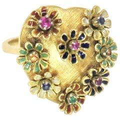 Art Nouveau 1920s Movable Flowers Gemstone Ring / 18 Karat