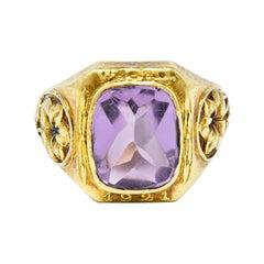 Art Nouveau 1921 Tiffany & Co. Amethyst 18 Karat Gold Floral Ring